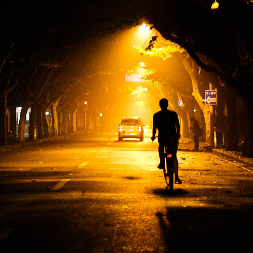 cyclist at night