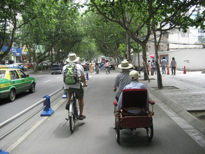 Chengdu, China -- separated bike lanes.