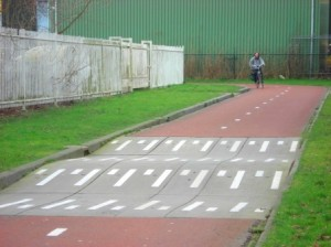 2-way off-road bike path and speed bumps in Groningen, Netherlands. Image Credit: Zachary Shahan / Bikocity