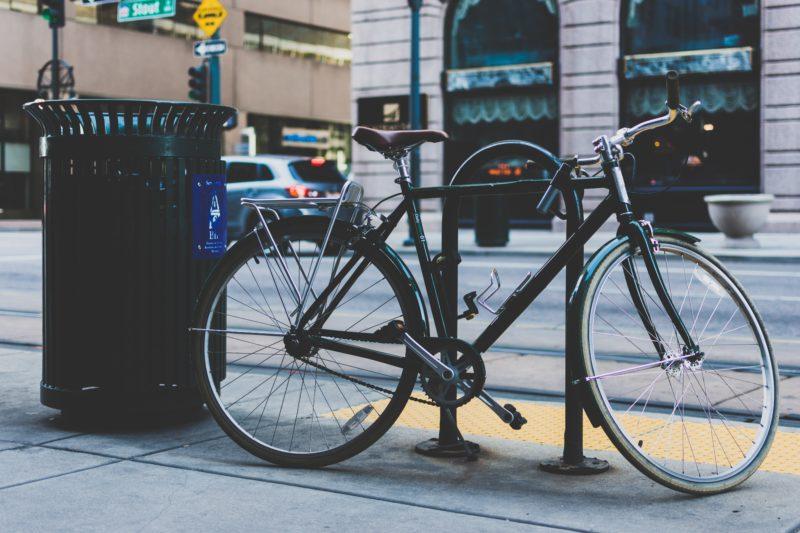 bike locked to post